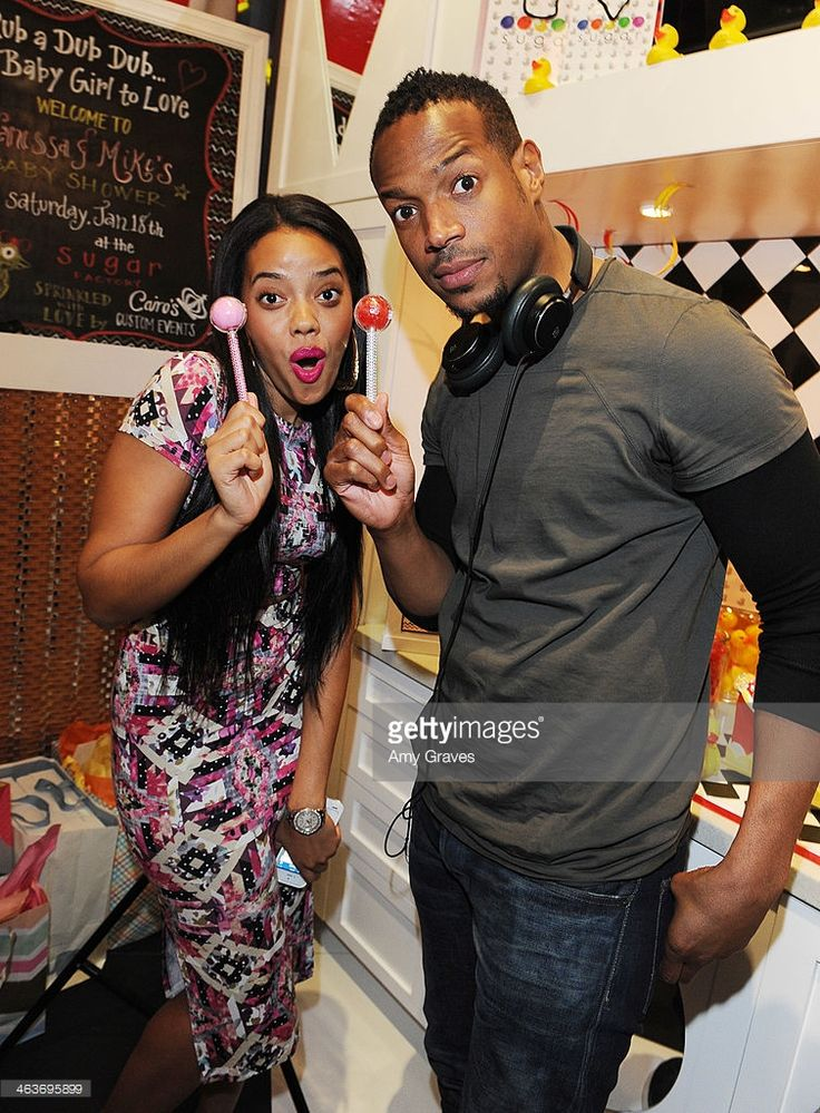 Angela Simmons and Marlon Wayans attend Vanessa Simmons Baby Shower at Sugar Factory Hollywood on January 18, 2014 in Los Angeles, California.