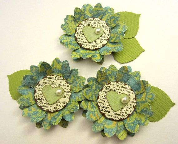 Shabby Moss Green Light Teal Paper Flower by missymadeit on Etsy, $2.65