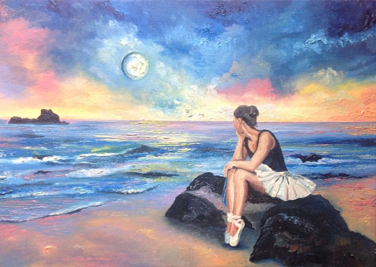 The whisper of the moon · Oil on canvas · 33 x 46 cm · by arte2due