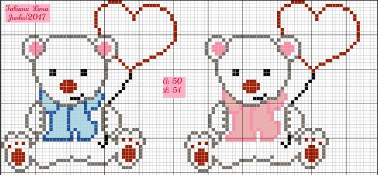 Urso polar, ursinho polar fofo com coração, love cross stitch, punto de cruz, fofura bebê, bear, point croix, infantil