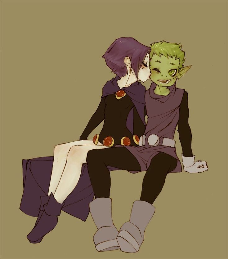 Raven and Beast Boy by ~klar I always thought they were so cute together!