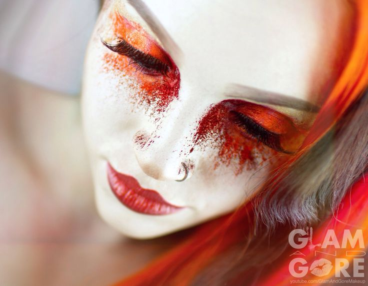 Crushed orange and red pigments for an avant garde beauty look. For more makeup looks and tutorials: www.instagram.com/mykie_ www.youtube.com/GlamAndGoreMakeup