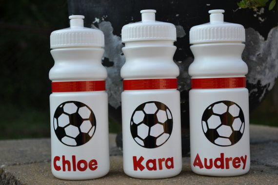 Personalized 20 oz white soccer sports bottle by ihaveafavor, $8.00