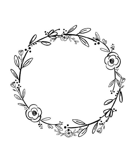 Black Clipart Black Flowers Handdrawn Wreath Clipart Etsy Hand Embroidery Patterns Free Embroidery Patterns Free How To Draw Hands
