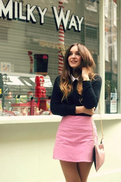 What Olivia Did, pink a line skirt, 60s, retro, fashion, style, collar, jumper, simple, outfit