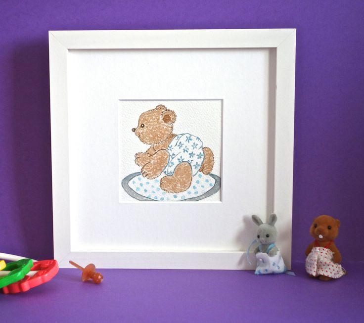 Tableau b b nounours pour chambre d 39 enfant aquarelle for Tableau pour chambre bebe