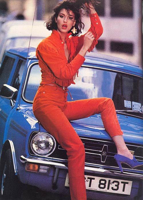Janice Dickinson in the 1980s wearing Nigel Preston, photographed by Mike Reinhardt for Vogue UK.