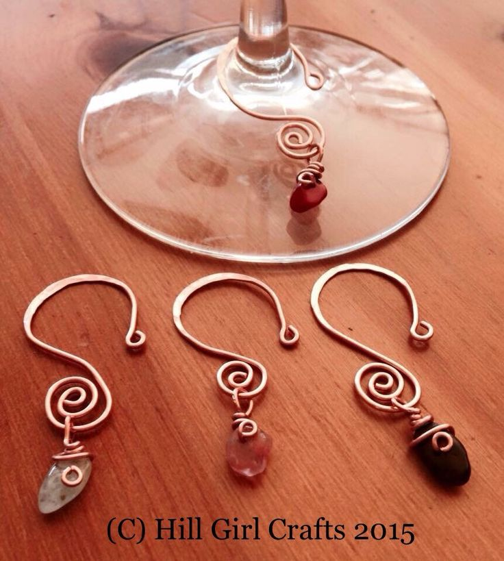 Hammered Copper Wire Wine Glass Charms by HillGirlCrafts on Etsy https://www.etsy.com/listing/255997071/hammered-copper-wire-wine-glass-charms