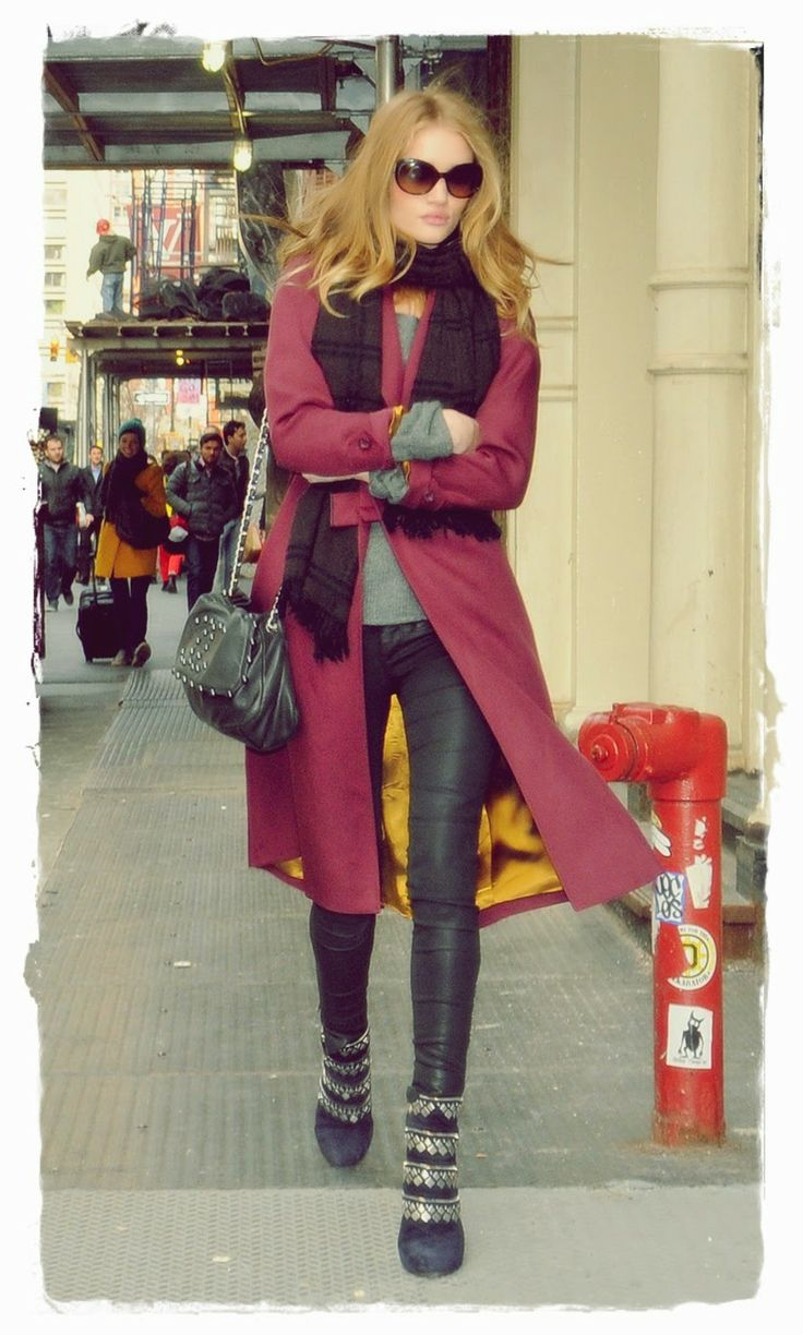Rosie #Huntington Whiteley Street Style Snapshot - After witnessing Rosie's winter style we're convinced we need to invest in a rich mulberry coat come September. A traditional plaid scarf made this look classic from the waist up, but leather leggings and bejeweled booties added a sexy twist.