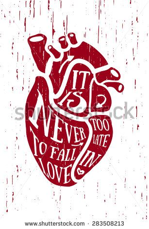 The poster, placcard, painting in vintage style with grunge texture. Red anatomical human heart with text love. Good for greeting cards, posters for the interior, printing on T-shirts, tattoo. Vector - stock vector