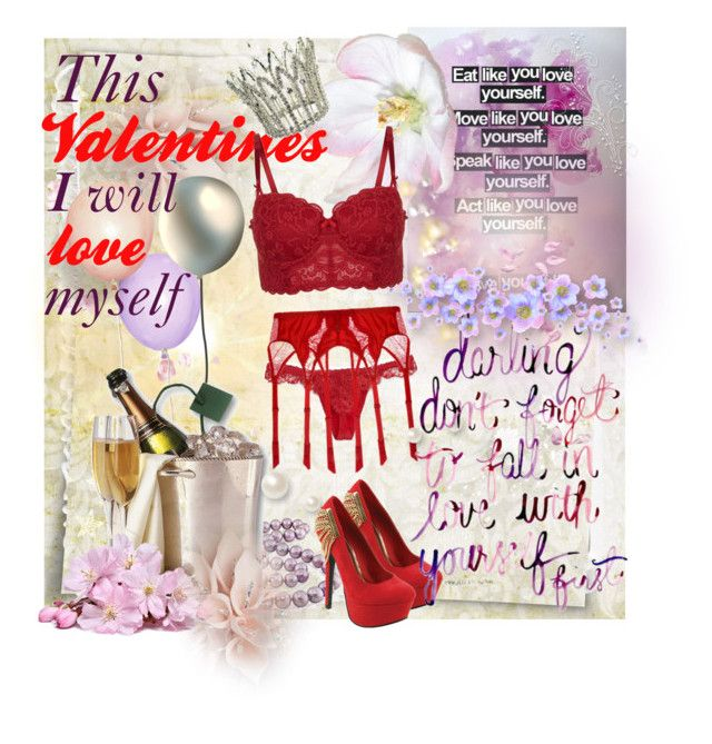I am my most loving Valentine!  by azanian-roots on Polyvore   featuring polyvore beauty Dita Von Teese La Perla Red Circle ESPRIT