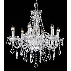 Craft room in black?!! Brighten your home decor with an elegant chandelier  Lighting fixture showcases a chrome finish  Chandelier features dripping clear crystal accents