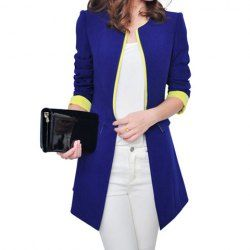 $16.29 Color Block #Fashionable #Style Polyester Long Sleeves #Blazer For #Women
