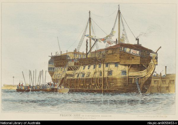 # 8 Cooke, Edward William, 1811-1880. Prison-ship in Portsmouth Harbour, convicts going aboard [picture]