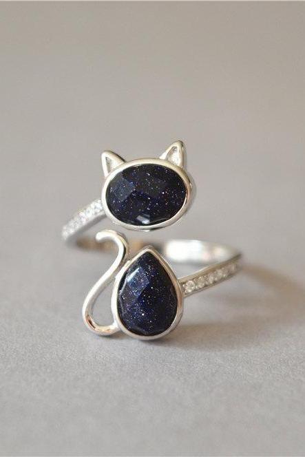 Gemstone cat ring, 925 sterling silver cat ring, shining under sunshine Dark purple stone ring, big statement solitair adjustable ring(JZ74)