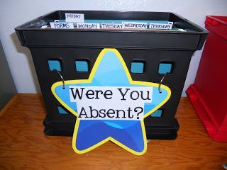 I'm all for making kids responsible and this is a good way to do it. The things they missed are all in one place. It is up to them to get their materials. This teacher has a lot of great classroom organization ideas.