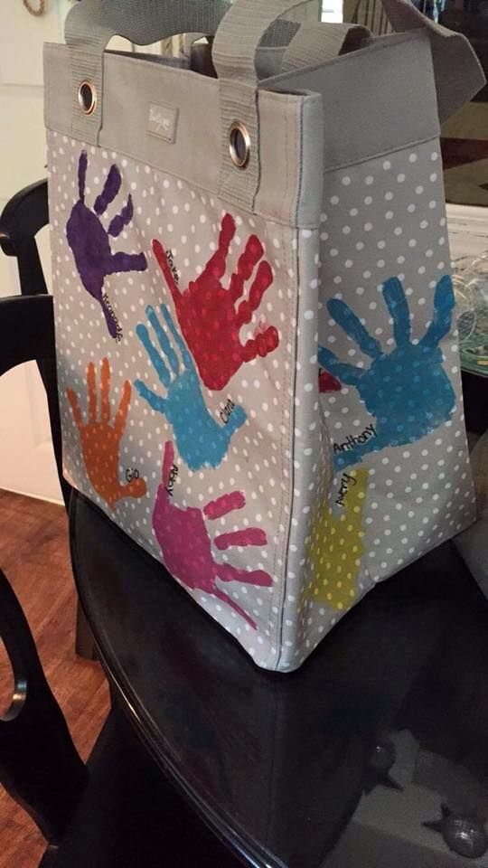 Great Gift Idea For Teacher Or Grandparent. Large Tote Or Cloth Storage Bin  Then Decorate With Handprints.