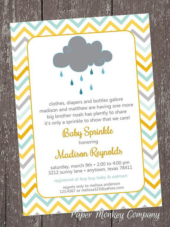 Having A Sprinkle Baby Shower Part - 17: SALE Chevron Baby Sprinkle - Clouds - Rain - Sprinkle - Baby Shower  Invitation - Each With Envelope From Paper Monkey Company