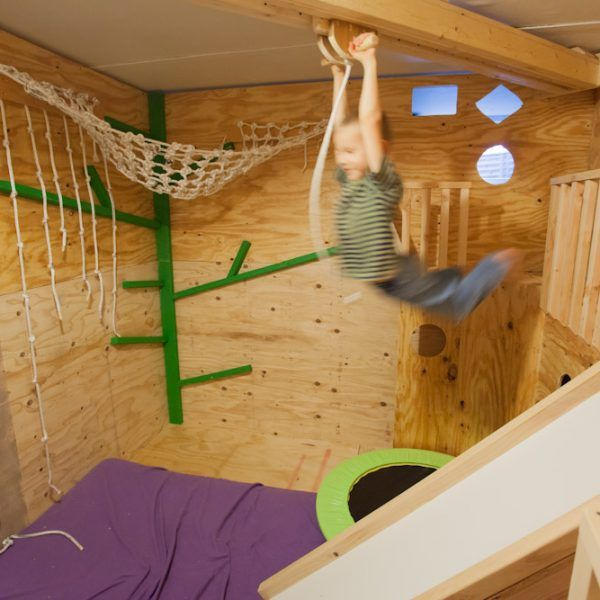 Indoor Jungle Gym - FREE Shipping!  Super fun play area for kids, toddlers, ages 2-10! With secret tunnel, rock climbing wall, zipline, trampoline, slide, rope net, and more!!