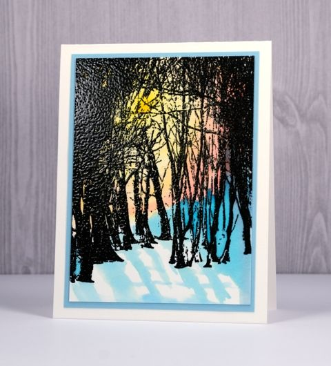 I have new tree stamp to introduce to you today. You know how I feel about tree stamps. I kept the technique quite straightforward for this card but I'm looking forward to trying a few more o…