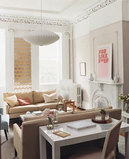 Parsons desk from west elm via domino magazine desk space in the living room