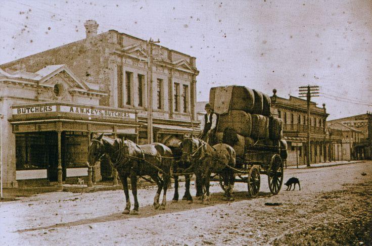 Ken Geange on horse-drawn wagon outside A & W Keys' butchery, Upper Hutt | Upper Hutt City Library