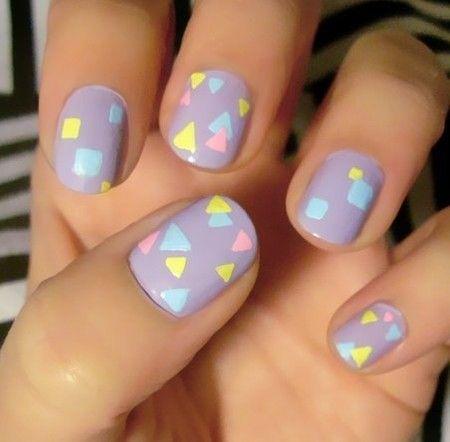 pastel geometric print nails