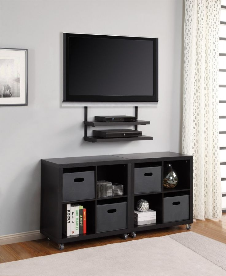 Small Shelves Under Wall Mounted TV Living Room DecorationsIdeas