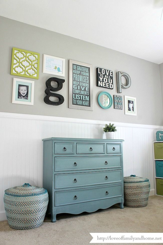 Playroom Gallery Wall {Playroom Update} - Love of Family & Home. Wall color:  Route 66, Glidden.  Lovely.  Fabulous blue dresser.
