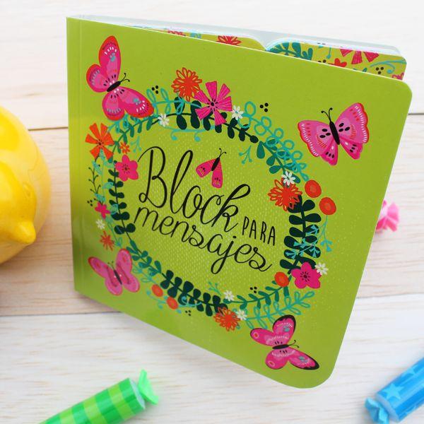 Block mensajes Mariposas. Disponible en www.hojas.com.co $15.000