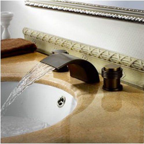Oil Rubbed Bronze 8 Widespread Waterfall Roman Bathroom Sink Faucet