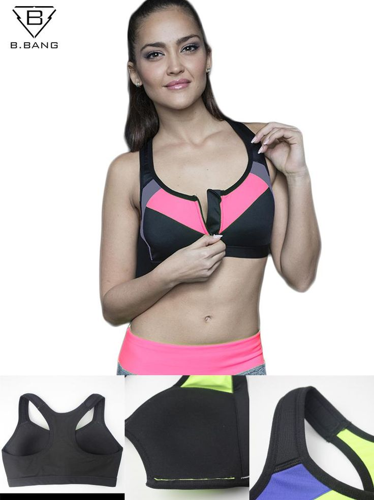 [Visit to Buy] B.BANG 2016 Summer Women Sports Bra Tops Running Gym Padded Wirefree Shakeproof Push Up Bra Top Bra for Woman ropa deportiva #Advertisement