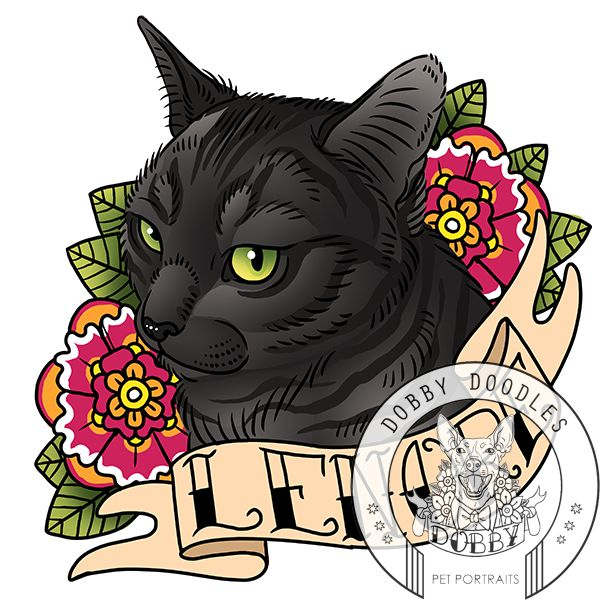 www.dobbydoodles.com - Dobby Doodles custom pet portraits inspired by old school tattoos. Just $25! #cat cattattoo #oldschooltattoo #petportrait www.dobbydoodles.com