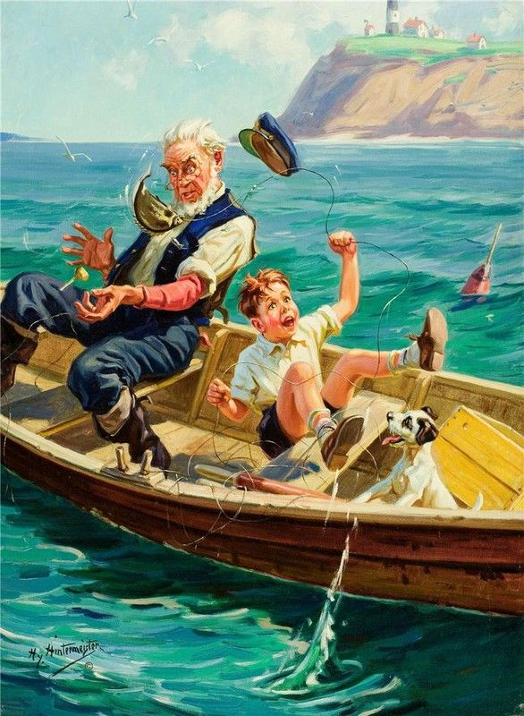 HENRY HINTERMEISTER...wonderful painting...look at the expressions on the faces of Granpa and his Grandson:):)