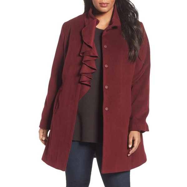 Plus Size Women's Tahari Kate Ruffle Wool Blend Coat (€145) ❤ liked on Polyvore featuring plus size women's fashion, plus size clothing, plus size outerwear, plus size coats, cabernet, plus size, wool blend coat, tahari coats, ruffle collar coat and women's plus size coats