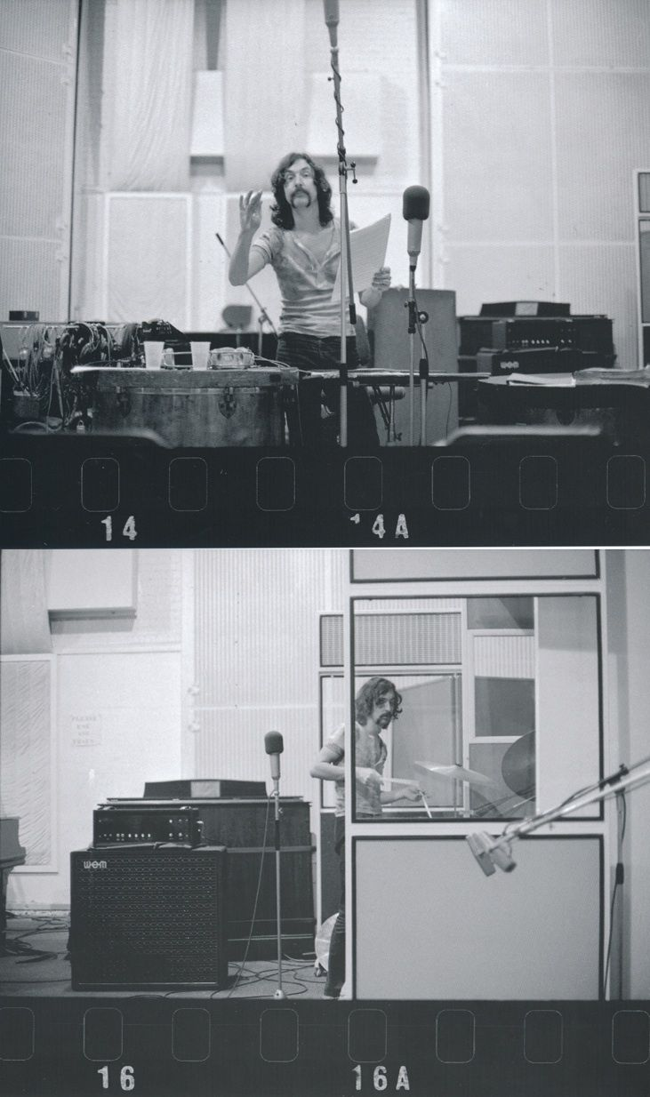 Nick Mason during the recording of Atom Heart Mother. Photo by Richard Stanley from Ron Geesin's book The Flaming Cow- The Making Of P...