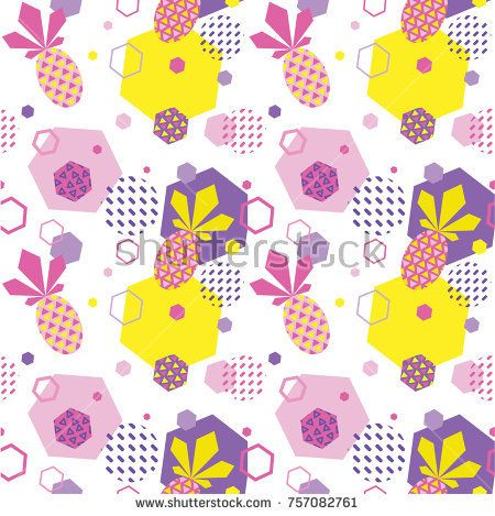Seamless color summer pattern with pineapple, trendy geometric memphis style vector background, bright fashion wallpaper