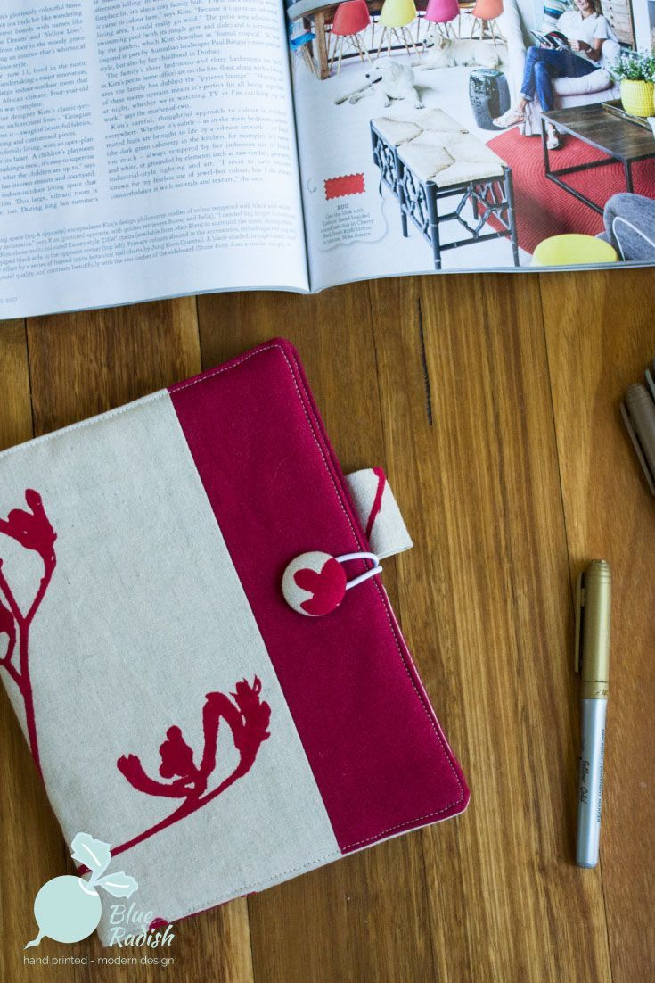 A stylish and reusable journal cover in handprinted fabric to fit an A5 sized book. Supplied with either an art journal or lined notebook.