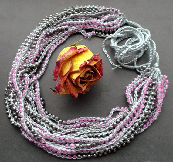 Necklace many rows. necklace. pink and gray. cotton thread. Glass Beads