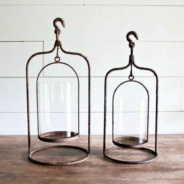 Click to shop candle holders by Hudson and Vine. Classic home decor to bring soft illumination to your farmhouse, french country, Tuscan, Vintage, Industrial or Bohemian interior design style. Industrial Hanging Lantern Candle Holder