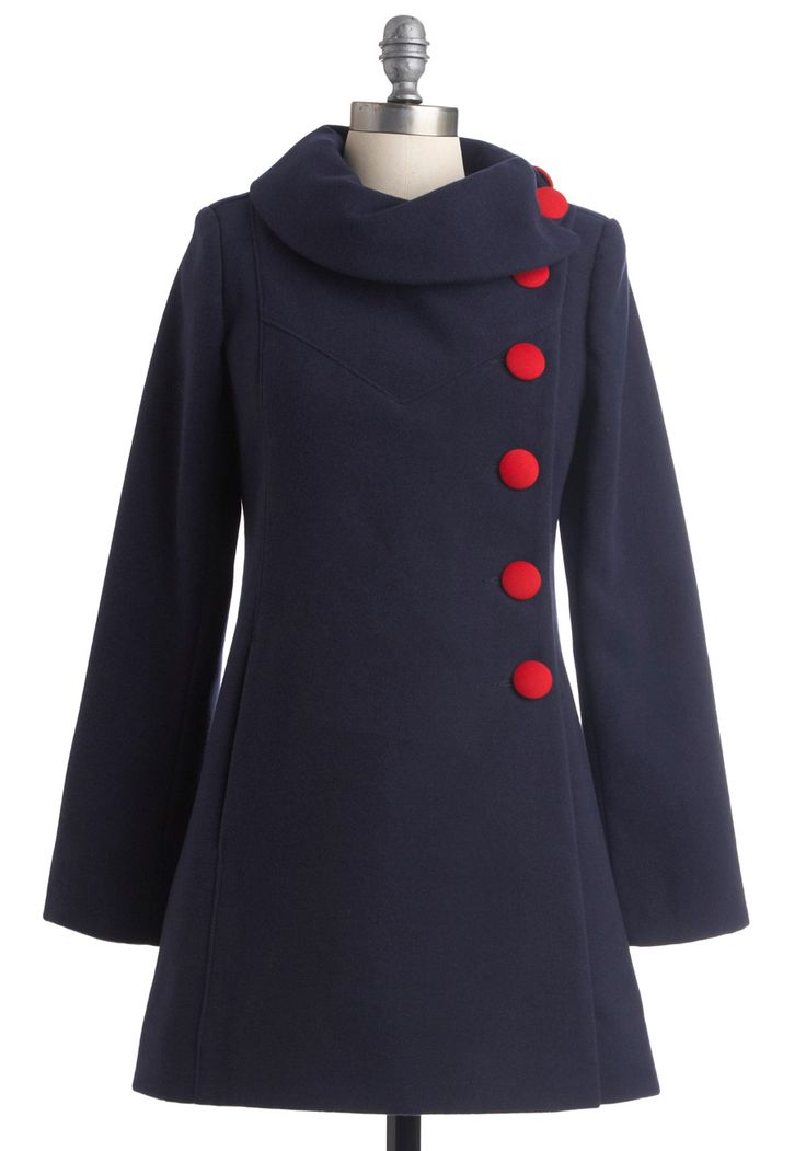 cute and cozy navy coat: Red Buttons, 60Sinspir Coats, Winter Jackets, Navy Coats, 60S Inspiration, Blue Clothing, 60S Style, Winter Coats, Modcloth Com