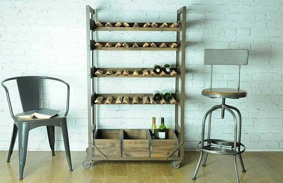 Vintage industrial rustic style wooden wine rack made  from mango wood by Smithers of Stamford