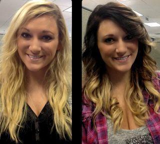 Vor und nach dem Herbst Haarfarbe bräunen