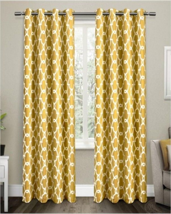 Patterned Blackout Curtains In 2020 Panel Curtains Home Curtains Yellow Curtains