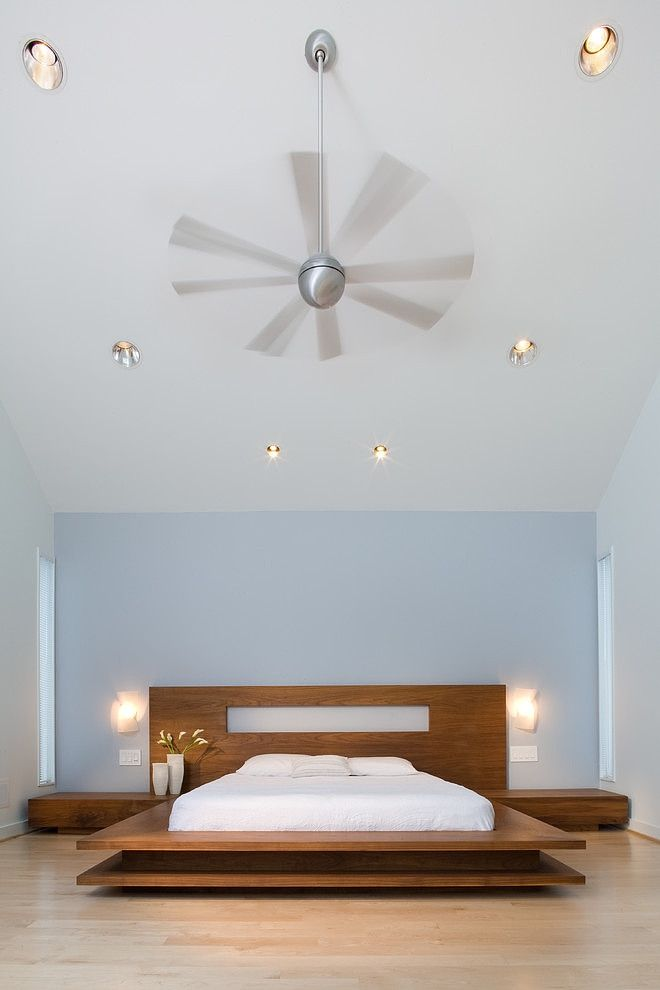 Wide Grey Propeller In Modern Transformation Ben Ames Aia Bedroom With Wooden Platform Bed And White Cushions