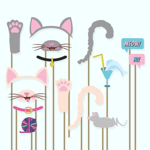 Cats photo booth props kitty ears kitty by GoodBadgerPrints