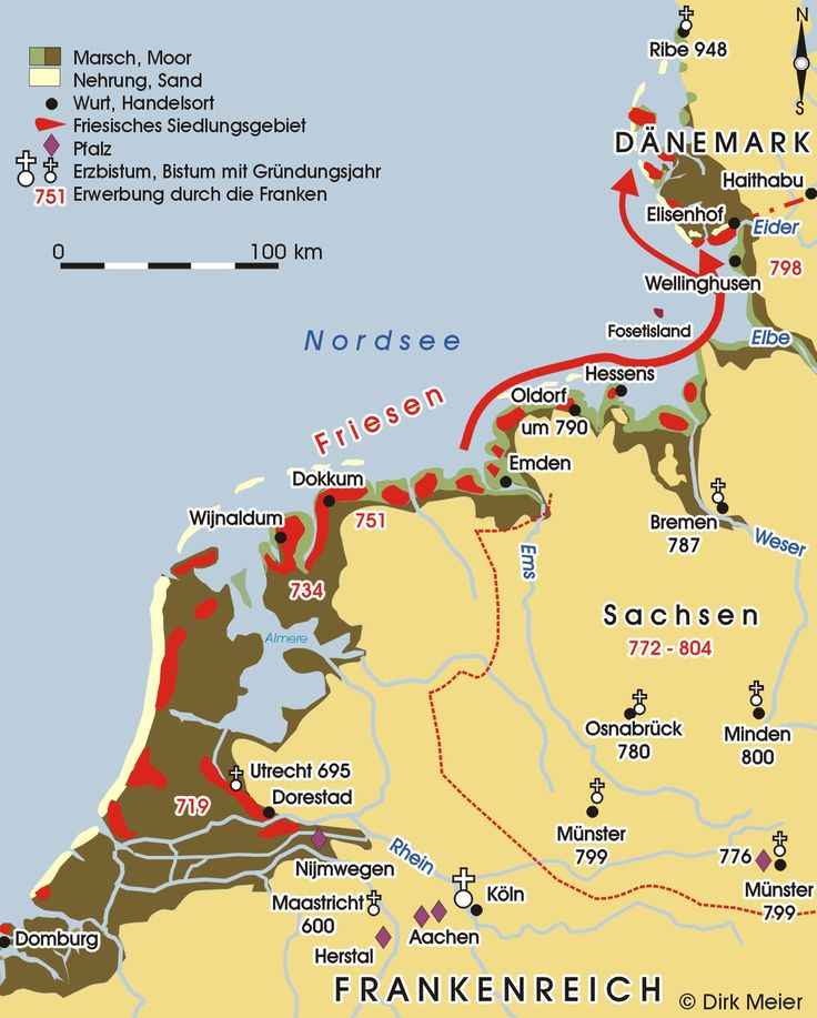 8th century - The spread of Christianity in the Frisian territories. The Frisian settlements are in red. In 754 the Anglo-Saxon missionary Boniface was killed at Dokkum, along with 52 others.