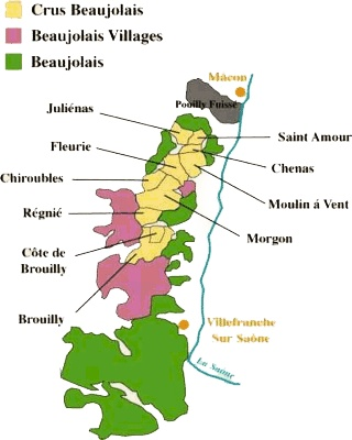 Nicely laid out map of Beaujolais.  Do you have a favorite Cru?