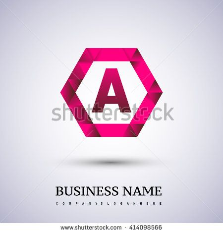 A Letter logo icon design template elements on red hexagonal. - stock vector
