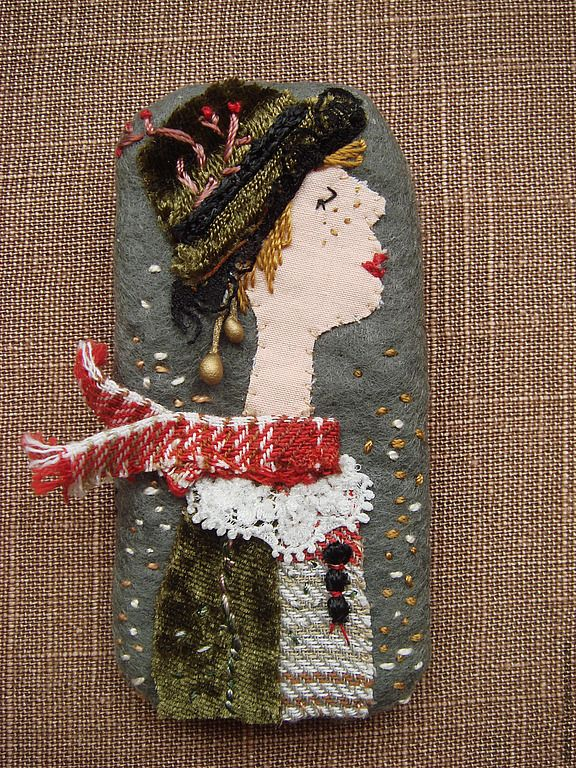 Buy Brooch textile Towards the Wind. Sold. - Brooch female image, embroidered portrait